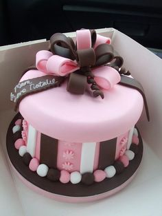 Pink & Brown cake with stripes and a bow!