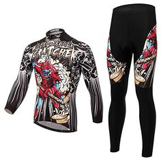 CNDragon Skull Mens Breathable Long Sleeve Cycling Jersey Set Bicycle Clothing Asian S Hockey Skull *** For more information, visit image link.Note:It is affiliate link to Amazon. #tagblender