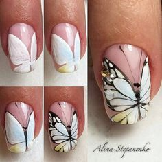 Butterfly Nail Art Butterfly Nail Drawing Butterfly on Nail Nail Art Summer 2017 Butterfly Nail Art Design Butterfly Spring Nail French Nail Butterfly Nail Art Design Manicure Butterfly Manicure Light Butterfly Nail Art Trendy Nail Art, Nail Art Diy, Diy Nails, Cute Nails, Diy Art, Manicure Steps, Butterfly Nail Designs, Butterfly Nail Art, Nail Art Designs
