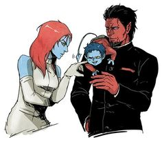 Azazel and Mystique | Marvel comics X Men; Nightcrawler, Azazel,& Mystique... Such a happy ...