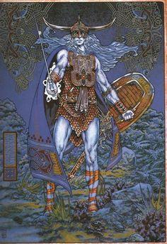 Superbe illsutration de Jim Fitzpatrick - The coming of Lugh The Dana Le plus grand dieu de la mythologie irlandaise. Irish Celtic, Celtic Art, Jim Fitzpatrick, Irish Mythology, Vikings, Irish Warrior, Legends And Myths, Picts, Science Fiction