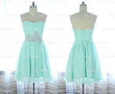 Custom Made Green Aline Strapless Short Prom Dresses by MsClothes, $142.99 homecoming dress