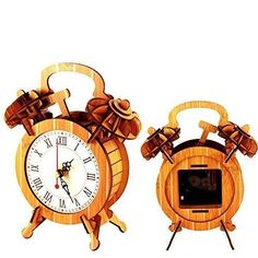 iKasonTM DIY Lazy Clock 3D Wooden Puzzle Arts  Crafts  Bamboo ColorDark Beige -- Want to know more, click on the image.