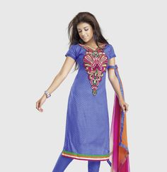 ab9f4fdd7a Blue Cotton Designer Dress Material D No.6009b Details: Beautiful Blue cotton  dress material