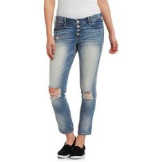 L.E.I. Juniors' Giselle Relaxed Skinny Jeans, Size: 7, Gray