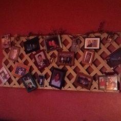 Hang lattice on wall to display photos