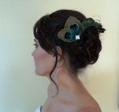 Peacock Feather Fascinator Wedding Accessories Bridal Bridesmaid Special Occasion Hair Piece. $47.99, via Etsy.