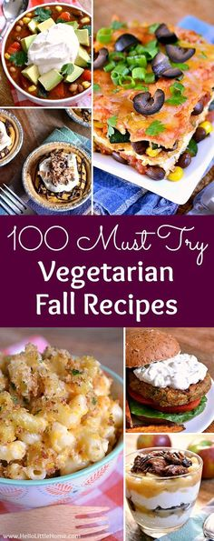 Here are 100 mouthwatering Vegetarian Fall Recipes—everything from apps to main dishes to desserts—that you need to try this autumn! Healthy Vegetarian Meal Plan, Vegetarian Freezer Meals, Autumn Recipes Vegetarian, Veggie Recipes Healthy, Vegetarian Entrees, Fall Recipes, Dinner Recipes, Vegetarian Junk Food, Vegetable Recipes