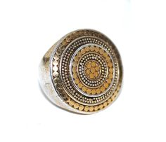 Vintage Anna Beck Chunky Designer Statement Ring, Bali Sterling Silver Tribal Ethnic Boho Dot Mixed Metal Gold Jewelry door WhatIsThing op Etsy https://www.etsy.com/nl/listing/227378171/vintage-anna-beck-chunky-designer