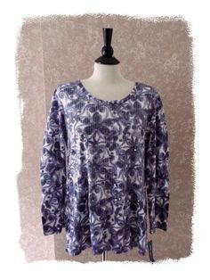 NEW Style & Co. XL Tunic Knit Top Long Sleeve Purple Artsy Sequins