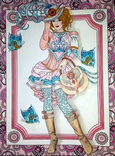 Beautiful hand painted steampunk lady in pastels shades using all acid free materials on an adult coloring book page. Matted, ready to frame and