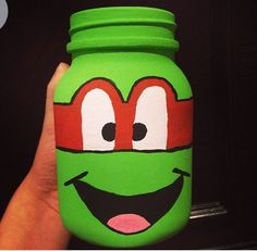 Ninja turtle painted mason jar