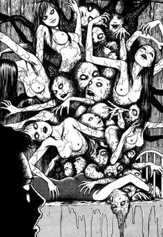 scary art Black and White anime japan creepy horror manga junji ito Macabre guro terror bizarre disturbing japanese horror B n W Junji Ito, Creepy Horror, Horror Art, Manga Gore, Ero Guro, Japanese Horror, Drawn Art, Arte Obscura, Manga Artist