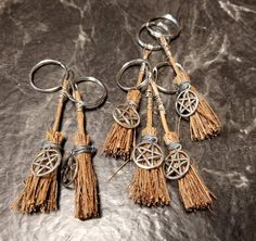 You will recieve 1 besom keychain. Wiccan Decor, Wiccan Altar, Wiccan Crafts, Pentacle, Talisman, Witch Signs, Witch Broom, Green Man, Book Of Shadows