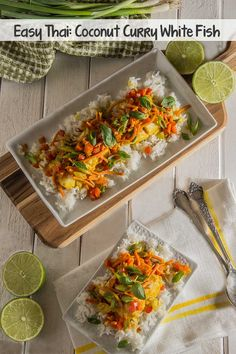 Easy Thai: Coconut Curry White Fish | An easy, one-dish dinner with the thai-inspired flavors of coconut milk, curry seasoning, chili peppers, and lime. Something unique for dinner that's also fool-proof! | The Scrumptious Pumpkin