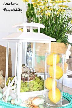 lantern and lemons centerpiece at @Southern Hospitality Rhoda #LowesCreator