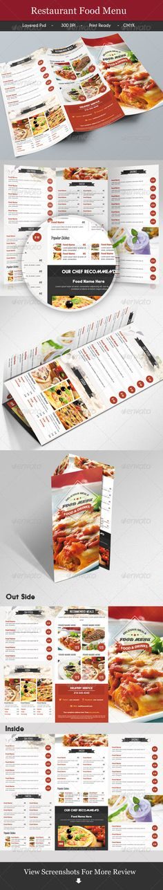 Trifold Restaurant Menu Template #design Download: http://graphicriver.net/item/trifold-restaurant-menu-2/7285316?ref=ksioks