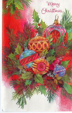 Mid Century Christmas Card with Vintage Shiny Brite Style Tree ORNAMENTS in Arrangement
