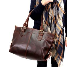 Bolso grande de piel en marrón Vintage
