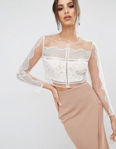 KENDALL + KYLIE Paneled Long Sleeve Crop Top on Shopstyle.