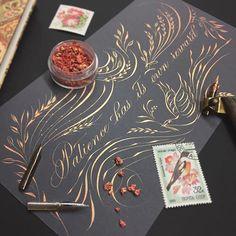 No photo description available. Calligraphy Borders, Copperplate Calligraphy, Calligraphy Quotes, Calligraphy Alphabet, Penmanship, Picture Folder, Arte Quilling, Envelope Art, World Crafts