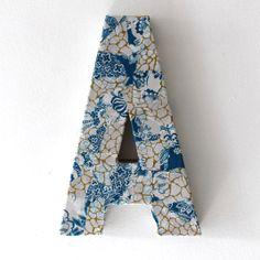 Decoupage letter A decoration in blue deopatch paper Decoupage Letters, Floral Tie, Lettering, Decoration, Paper, Blue, Fashion, Decor, Moda