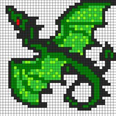 Green Dragon - Cool Perler Bead Patterns, http://hative.com/cool-perler-bead-patterns/,