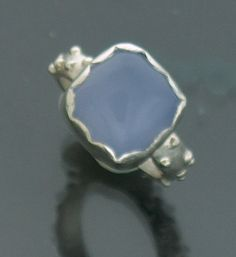 Blue Chalcedony Ring Set in Sterling Silver by ZeniaLisJewelry, $175.00
