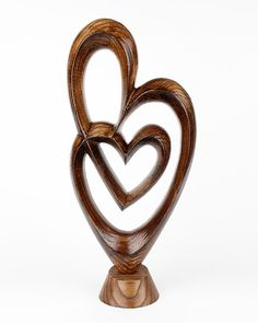 Carved Wood Hearts Figurine Love Sculpture Table Centerpiece