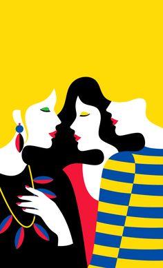 Geometria e cores fortes de Malika Favre - É interessante como a mistura de geometria e cores fortes pode resultar em ilustrações tão complexas e simples, ao mesmo tempo. Malika Favre brinca com elementos do cotidiano em poucos traços limpos e diretos.