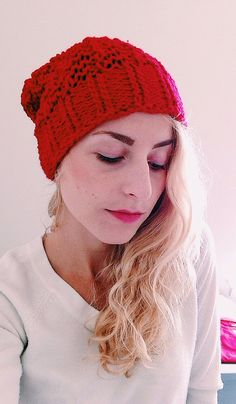 Red Knitted Hat Women's Hat Slouchy Red Hat by TheThriftyWolf, $25.00