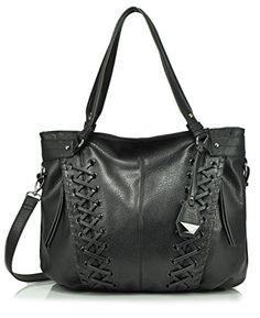 Jessica Simpson Tyson Whipstitch Tote Shoulder Bag, Black                                                                                                                                                      More