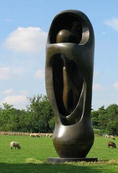 Large Upright Internal/External Form. One of the sculptures in the grounds of the Henry Moore Foundation, Perry Green..