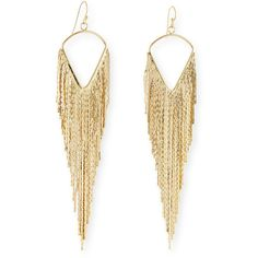 Jules Smith Fringe Dangle Earrings ($71) ❤ liked on Polyvore featuring jewelry, earrings, gold, jules smith jewelry, golden earring, jules smith, fringe jewelry and long earrings
