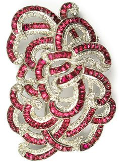 KTF Trifari 'Alfred Philippe' Deco Pave and Invisibly Set Rubies Tangle of Multiple Swirls Pin