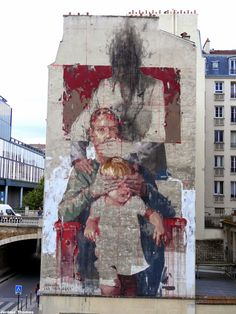"Borondo paints ""Les Trois Ages"", a new mural in Paris, France #streetart jd"