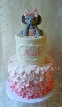 "Baby shower cake I did for a friend. the ""Mak"" stands for Makayla, which her husband came up with. The Elephant is made of fondant..."