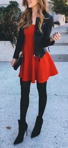 fall fashion red dress leather