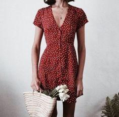 Cute Summer Outfit Ideas #reddress #summeroutfit #summerstyle #polkadotdress