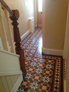 Restored and polished Victorian Minton floor tiles and bannister. Hall Flooring, Modern Flooring, Grey Flooring, Stone Flooring, Garage Flooring, Granite Flooring, Cork Flooring, Parquet Flooring, Stairs