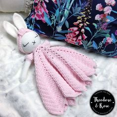 Hattie the bonnie bunny has had a little tweak for market. Crochet Baby Toys, Crochet Teddy, Baby Girl Crochet, Crochet Bunny, Crochet For Kids, Crochet Dolls, Knit Crochet, Crochet Lovey Free Pattern, Doll Amigurumi Free Pattern