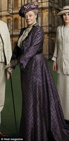 Maggie Smith dressed as Downton Abbey's Dowager Countess