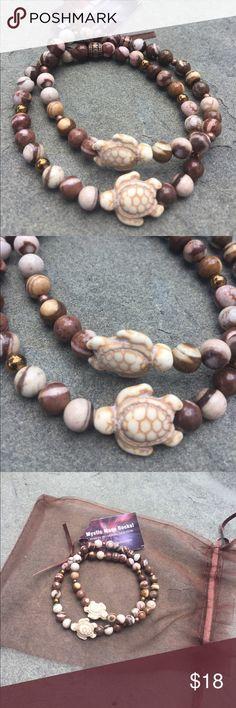 "Set of 2 Brown Stone Bracelets w turtles 7.25-7.5"" Set of 2 Brown Stone Bracelets w turtles 7.25-7.5"" Mystic Muse Rocks Jewelry Bracelets"