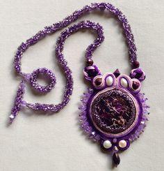 Soutache Necklace Purple Pendant by bjswearableart on Etsy
