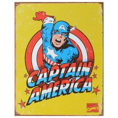 For any fan of comic-book superheroes, this metal sign makes a great decoration. Measuring 16 inches by 12 inches, this sign features a retro Captain America design. The pre-punched holes make hanging