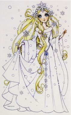 Winter princess with snowflake tiara by manga artist Macoto Takahashi.