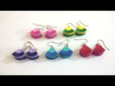 2. How to make Paper Weaving Earrings in 2 colors - YouTube