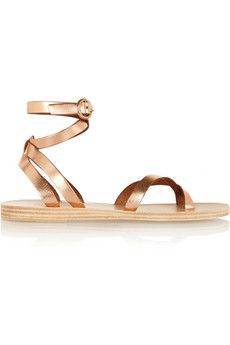 Valia Gabriel Malabar metallic leather sandals | NET-A-PORTER - Handcrafted in Greece from rose gold leather, Valia Gabriel's 'Malabar' sandals look especially flattering against bronzed skin. Fastened with wrap-around ankle straps and grounded by a sturdy sole, this metallic pair will work both at the beach and in the city.