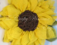 Light Yellow Sunflower Burlap Wreath Fall by TheCraftyWineaux
