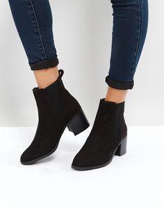 New Look Ribbed Side Block Heel Chelsea Boot - Black